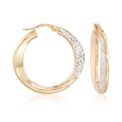 14kt Two-Tone Diamond-Cut Hoop Earrings, , default