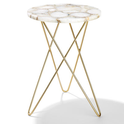 White Agate Side Table, , default