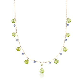 """17.70 ct. t.w. Peridot and 2.00 ct. t.w. Iolite Bead Station Necklace in 14kt Yellow Gold. 16"""", , default"""