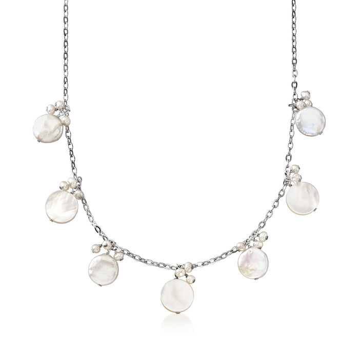 Cultured Pearl, Baroque Pearl and Mother-Of-Pearl Necklace in Sterling Silver