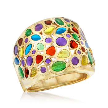 Italian Multicolored Enamel Dome Ring in 14kt Yellow Gold