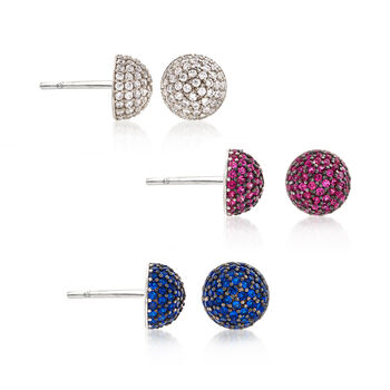2.10 ct. t.w. CZ Jewelry Set: Three Pairs of Stud Earrings in Sterling Silver, , default