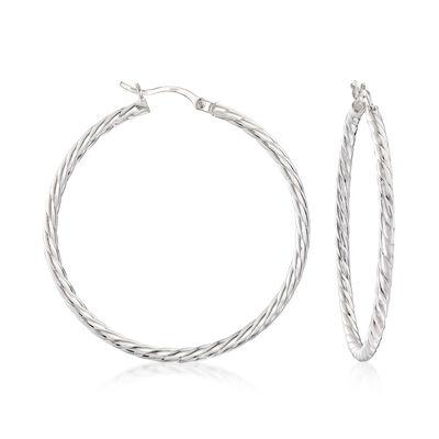 Sterling Silver Cabled Hoop Earrings, , default