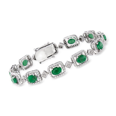 7.50 ct. t.w. Emerald and .15 ct. t.w. Diamond Bracelet in Sterling Silver, , default