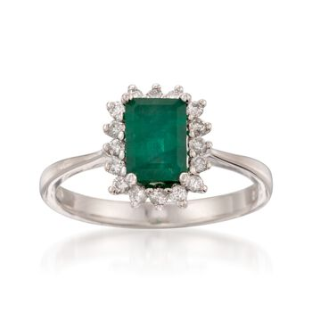 1.10 Carat Emerald and .20 ct. t.w. Diamond Ring in 14kt White Gold, , default