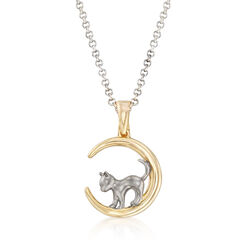 Cat in Crescent Moon Pendant Necklace in Sterling Silver and 18kt Yellow Gold Over Sterling, , default