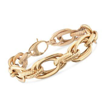 "Italian 18kt Yellow Gold Multi-Link Bracelet. 8"", , default"