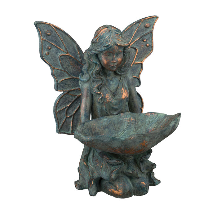 Regal Fairy Bird Feeder Outdoor Statue, , default