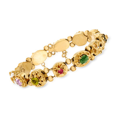 C. 1970 Vintage Cultured Pearl and 3.00 ct. t.w. Multi-Gemstone Bracelet in 14kt Yellow Gold, , default