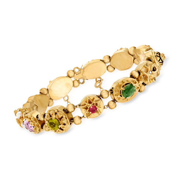 """C. 1970 Vintage Cultured Pearl and 2.00 ct. t.w. Multi-Gemstone Bracelet in 14kt Yellow Gold. 7"""""""