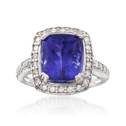 7.50 Carat Tanzanite and .60 ct. t.w. Diamond Ring in 14kt White Gold, , default