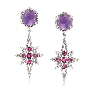 18.40 ct. t.w. Multi-Stone Star Drop Earrings in Sterling Silver, , default