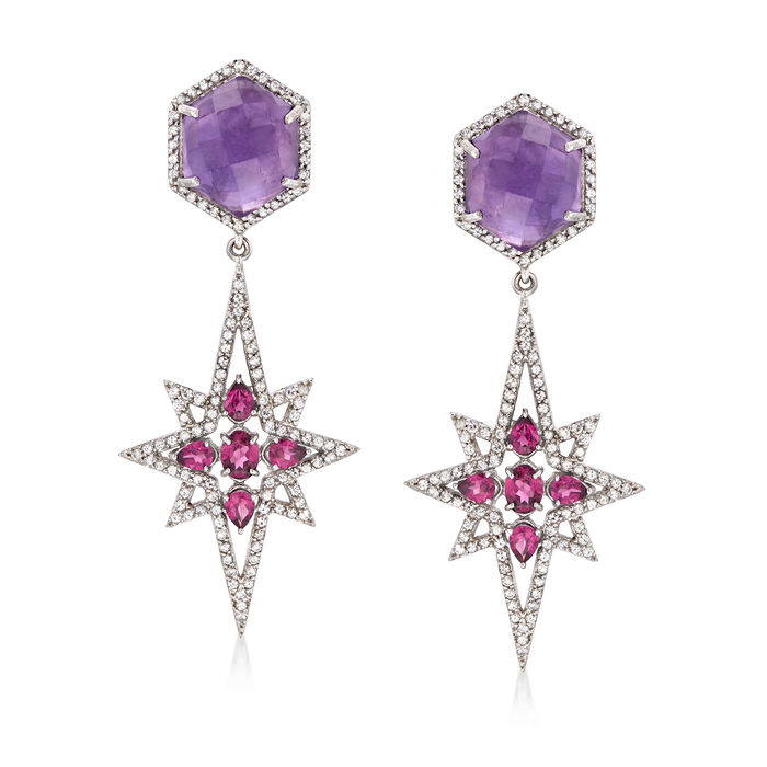 18.40 ct. t.w. Multi-Stone Star Drop Earrings in Sterling Silver, , default