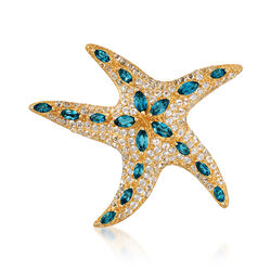 10.05 ct. t.w. Blue and White Topaz Starfish Pin in 18kt Gold Over Sterling, , default