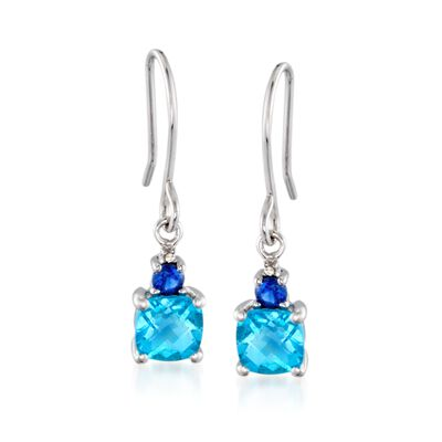 1.40 ct. t.w. Blue Topaz .20 ct. t.w. Synthetic Sapphire Drop Earrings in Sterling Silver, , default