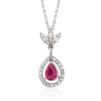 """.50 Carat Ruby and .25 ct. t.w. Diamond Pendant Necklace in 14kt White Gold. 16"""", , default"""