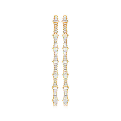 .73 ct. t.w. Diamond Linear Drop Earrings in 14kt Yellow Gold
