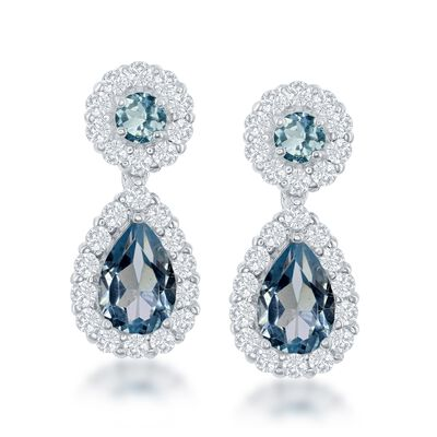 5.00 ct. t.w. Blue and White Topaz Drop Earrings in Sterling Silver