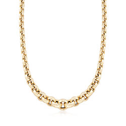 Italian 14kt Yellow Gold Graduated Round-Link Necklace, , default