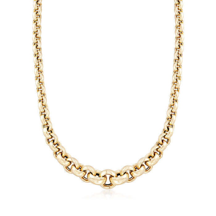 """Italian 14kt Yellow Gold Graduated Round-Link Necklace. 18"""", , default"""