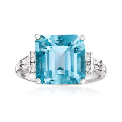 5.50 Carat Aquamarine and .48 ct. t.w. Diamond Ring in 18kt White Gold