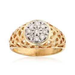 C.1980 Vintage Men's .50 ct. t.w. Diamond Cluster Ring in 14kt Yellow Gold, , default