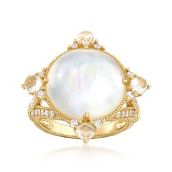"Judith Ripka ""Allure"" Mother-Of-Pearl Doublet and .57 ct. t.w. Diamond Ring With Rock Crystal in 18kt Yellow Gold, , default"