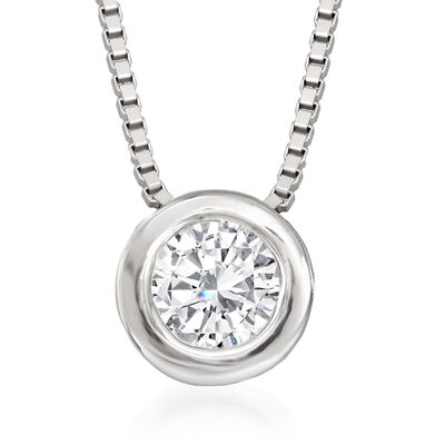 .12 Carat Bezel-Set Diamond Necklace in 14kt White Gold