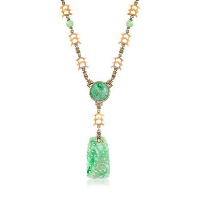 C. 1970 Vintage Jade Y-Necklace in 14kt Yellow Gold, , default