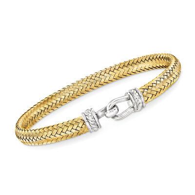 Italian Sterling Silver and 18kt Gold Over Sterling Horsebit Woven Bangle Bracelet