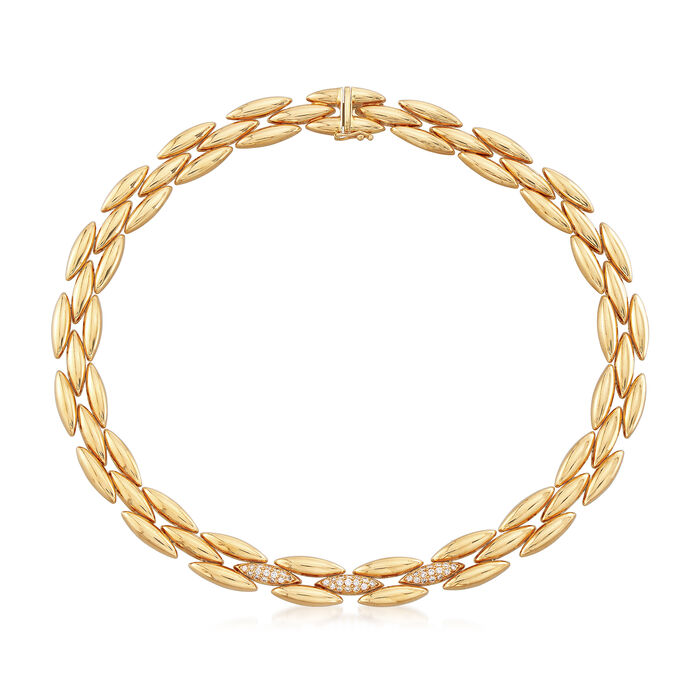 """C. 1989 Vintage Cartier .75 ct. t.w. Diamond Collar Necklace in 18kt Yellow Gold. 16"""", , default"""
