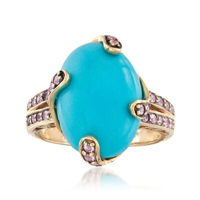 C. 2000 Vintage Turquoise and .55 ct. t.w. Morganite Ring in 14kt Yellow Gold