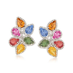 6.10 ct. t.w. Multicolored Sapphire and .57 ct. t.w. Diamond Earrings in 14kt White Gold, , default