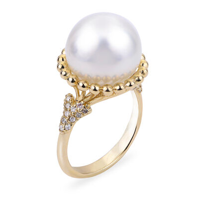 12-13mm Cultured Pearl and .20 ct. t.w. Diamond Ring in 14kt Yellow Gold