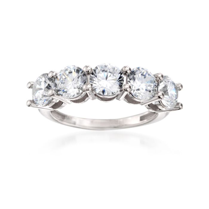 3.00 ct. t.w. CZ Five-Stone Ring in 14kt White Gold, , default