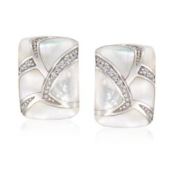 "Belle Etoile ""Sirena"" Mother-Of-Pearl and .20 ct. t.w. CZ Hoop Earrings in Sterling Silver, , default"
