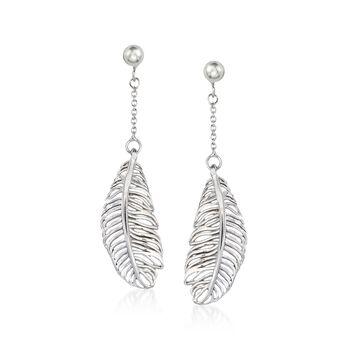 Italian Sterling Silver Feather Drop Earrings , , default