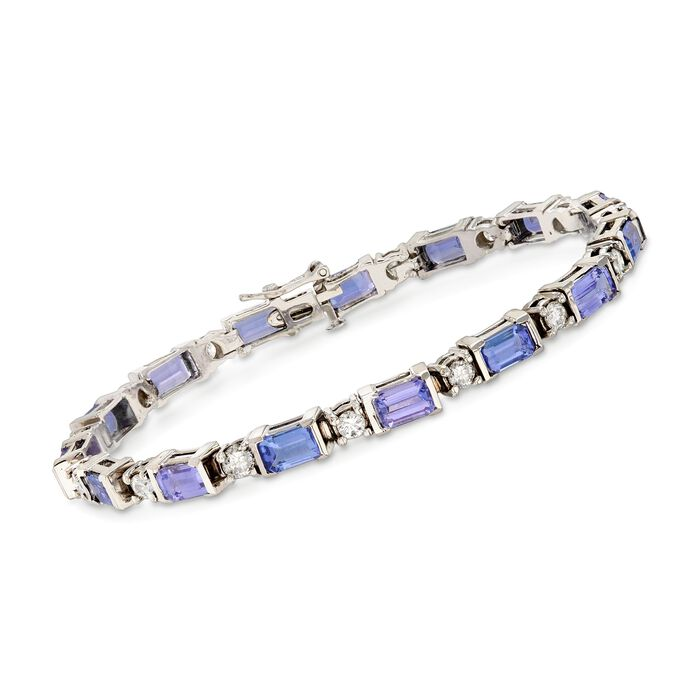 "C. 2000 Vintage 6.75 ct. t.w. Tanzanite and 1.75 ct. t.w. Diamond Bracelet in 18kt White Gold. 7"""