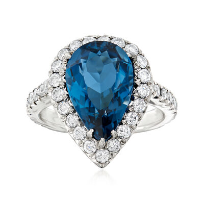 C. 1990 Vintage 6.39 Carat Sky Blue Topaz and 1.15 ct. t.w. Diamond Ring in Platinum