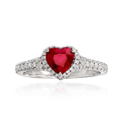 1.00 Carat Ruby and .25 ct. t.w. Diamond Heart Ring in 14kt White Gold, , default