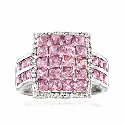 2.60 ct. t.w. Pink Sapphire and .22 ct. t.w. Diamond Ring in Platinum