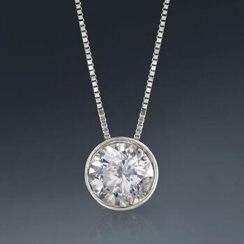 """1.00 Carat Bezel-Set Diamond Solitaire Necklace in 14kt White Gold. 18"""", , default"""