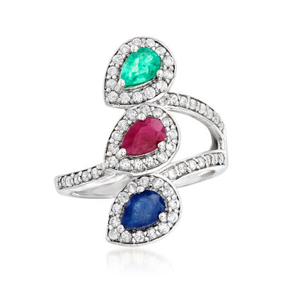 2.10 ct. t.w. Multi-Gemstone Three-Stone Ring in Sterling Silver