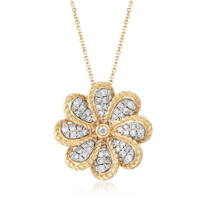 .75 ct. t.w. Diamond Floral Pendant Necklace in 14kt Yellow Gold, , default