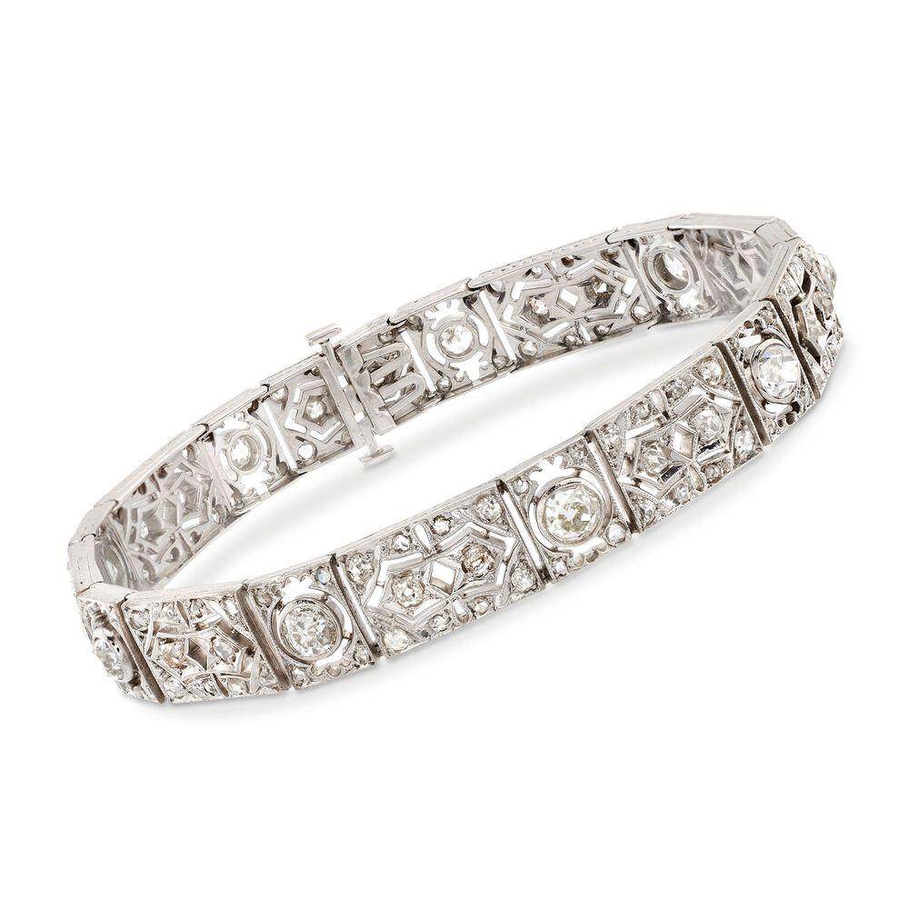 C 1920 Vintage 4 50 Ct T W Diamond Bracelet In 10kt White Gold 7 5 Quot