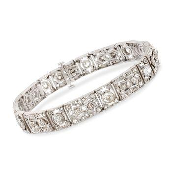 "C. 1920 Vintage 4.50 ct. t.w. Diamond Bracelet in 10kt White Gold. 7.5"", , default"