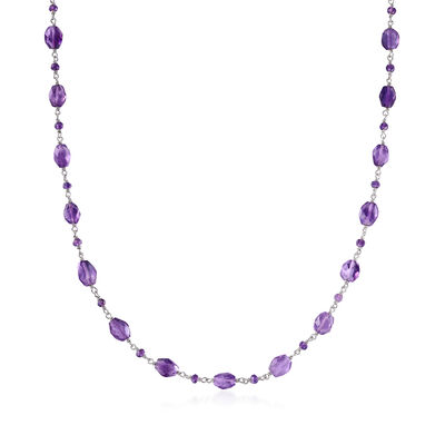 34.50 ct. t.w. Amethyst Bead Station Necklace in Sterling Silver, , default