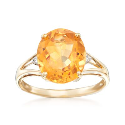 3.00 Carat Citrine Ring with Diamond Accents in 14kt Yellow Gold, , default