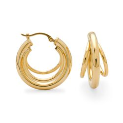 14kt Yellow Gold Three-Ring Hoop Earrings, , default