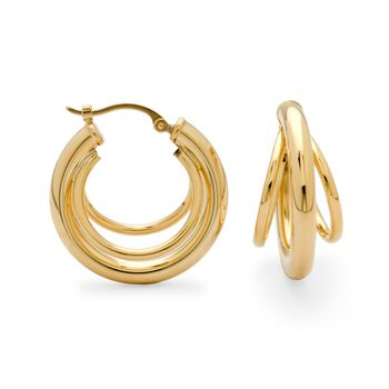"14kt Yellow Gold Three-Ring Hoop Earrings. 7/8"", , default"
